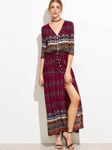 Tribal Print V Neck Button Front Dress