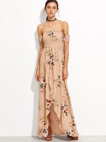 Pink Rose Print Off The Shoulder Wrap Dress