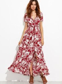 gespalten Kleid mit Quaste Selbst Schleife Blumen-burgund rot