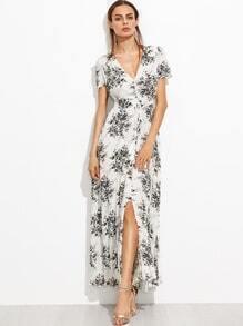 Vestido floral con cuello en V detalle de cordón y abertura en la parte delantera - blanco