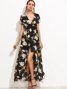 Vestido floral con cuello en V y cordón - negro