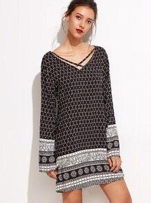 Vintage Print V Neck Criss Cross Tunic Dress