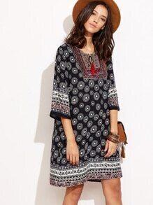 Robe imprimé tribal col lacets - noir