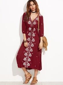 Burgundy Drawstring Waist Embroidered Peasant Dress