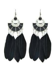 Black Color Boho Style Feather Big Dangle Earrings