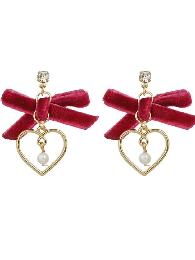 Red Color Velvet Bowtie Pearl Heart Shape Drop Earrings