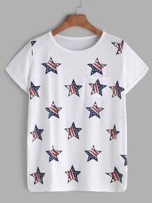 Camiseta con estampado de estrellas con bolsillo - blanco