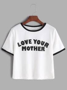 Camiseta corta ribete en contraste con estampado de slogan - blanco