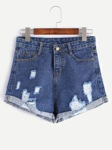 Dark Blue Frayed Cuffed Denim Shorts
