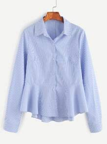 Blue Striped Button Front Peplum Shirt