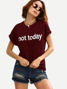 Burgundy Letter Print Cuffed T-shirt