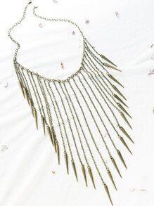Collar con flecos y tachuelas - bronce