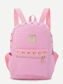 Pink Studded Detail Woven PU Backpack