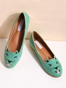 Green Cat Broderie Ballet Flats