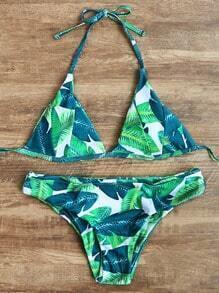 Ensemble bikini triangle imprimé feuille verte