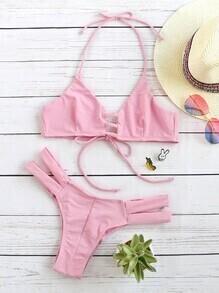 Buy Pink Ladder Cutout Halter Bikini Set