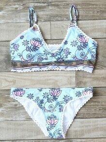 Set bikini con estampado floral ribete festoneado - azul claro