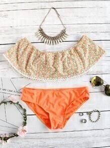 Orange Floral Print Off The Shoulder Bikini Set