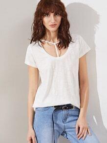 T-shirt avec sangles à décolleté -blanc