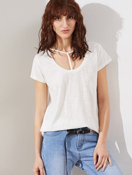 White T Strap Scoop Neck Slub T-shirt