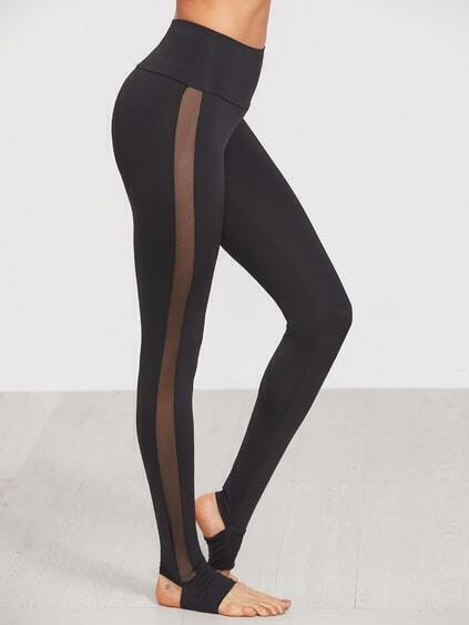 Black Wide Waistband Mesh Insert Stirrup Leggings