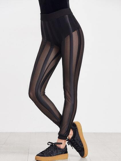 Black Sheer Striped Mesh Leggings