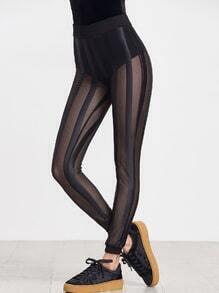 Black Sheer Striped Mesh Leggings
