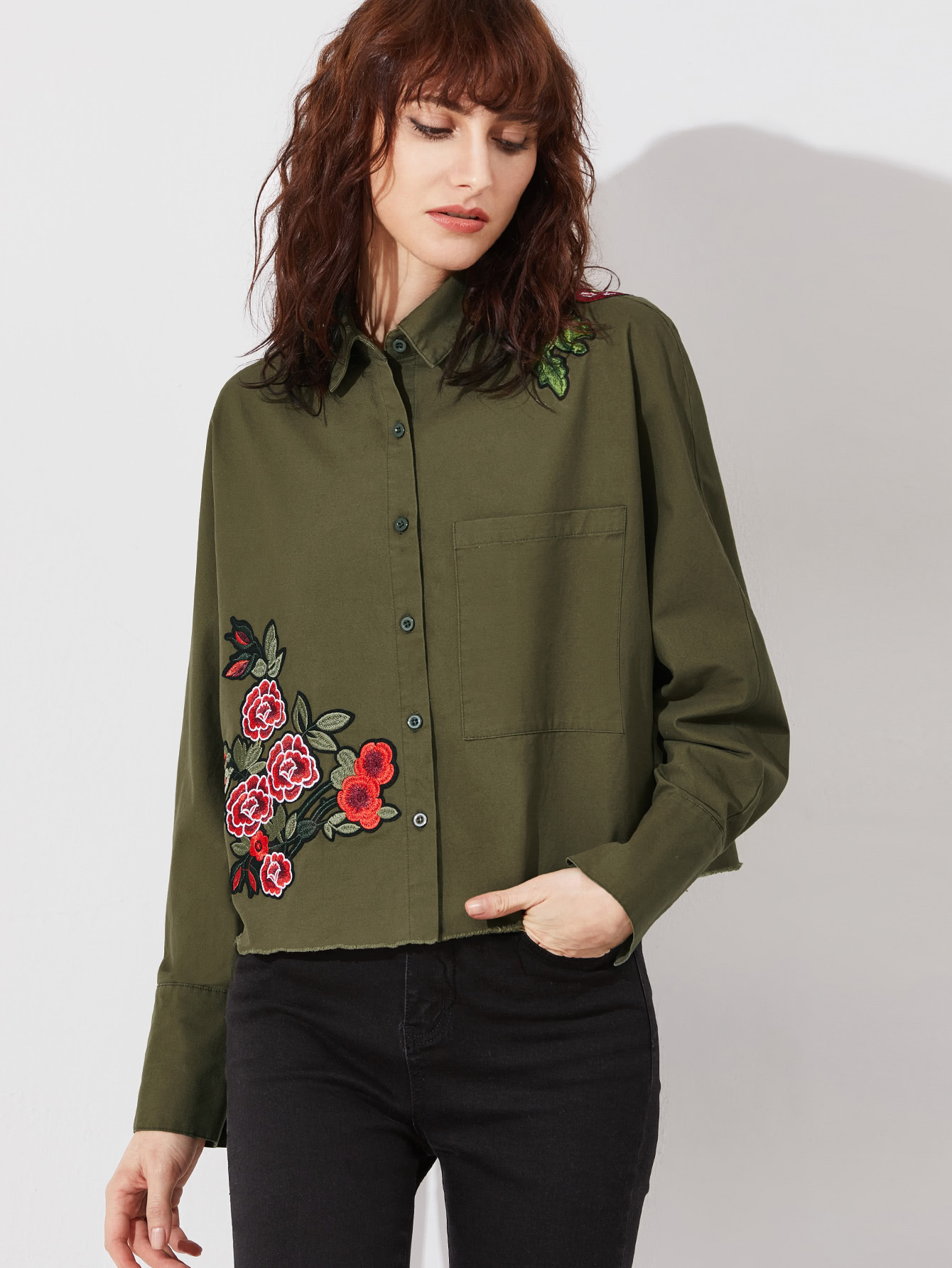 Olive Green Embroidered Flower Applique Single Pocket Raw Hem Blouse