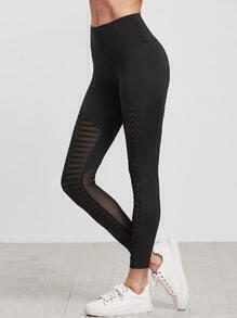 Black Wide Waistband Striped Mesh Insert Leggings