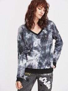 Black And White Tie Dye Print Sheer Mesh Back Sweatshirt