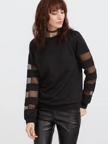 Sweat-shirt à rayure de maille manche raglan -noir