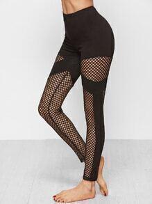 Leggings de maille inserte -noir