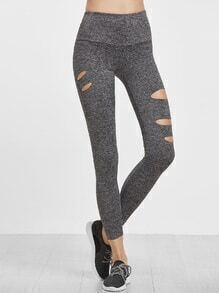 Grey Marled Knit Wide Waistband Ripped Leggings