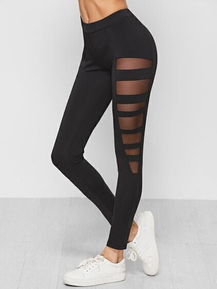 Black Mesh Insert Ladder Cutout Leggings