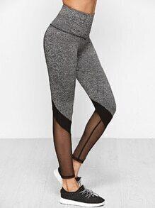 Leggings con cintura ancha y aplicación de malla