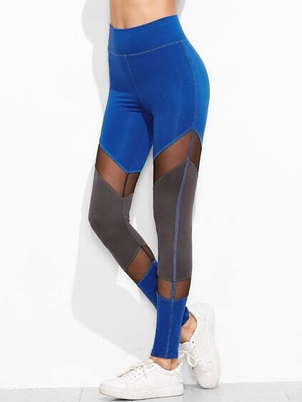 Contrast Mesh Panel Leggings