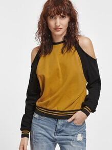 Contrast Striped Trim Open Shoulder Ruffle Sleeve Sweatshirt