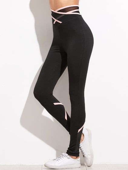 Black Crisscross Mesh Waist And Back Leggings