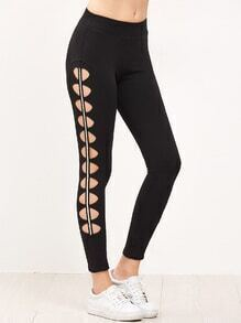Black Cutout Striped Side Leggings