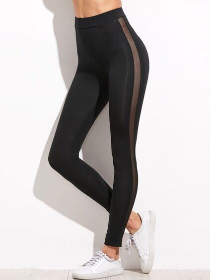 Black Mesh Panel Side High Waist Leggings