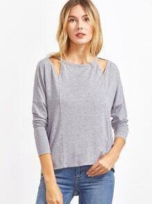 T-shirt à col découpe à l'épaule laissé asymtrique -gris bruyère