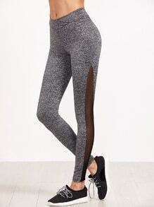 Grey Marled Knit Contrast Mesh Insert Leggings