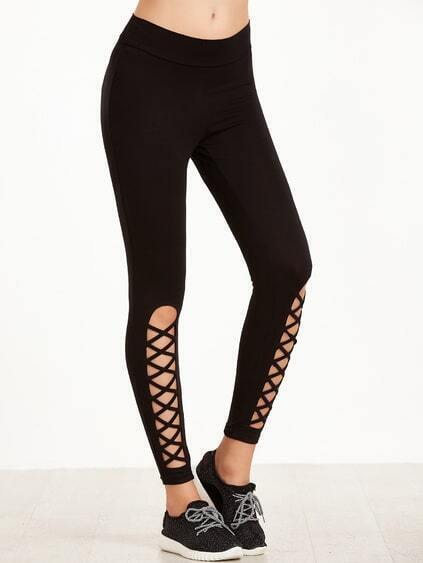Black Leggings With Cutout Lattice Detail