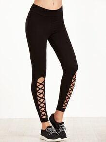 Black Leggings With Cutout Lattice Detail