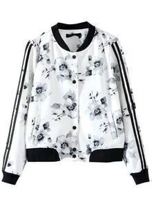 White Floral Print Striped Sleeve Jacket