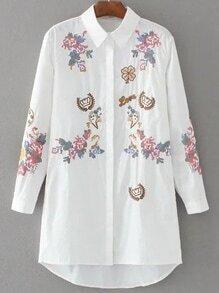 Camisa de vestir blanca bordado Dip Hem