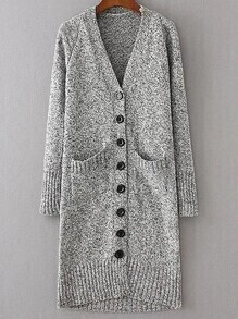 Light Grey Button Up Front Pocket Longline Sweater Coat