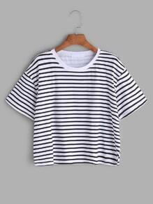 Contrast Striped Short Sleeve T-shirt