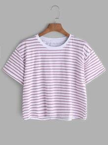 Kontraststreifen-Kurzarm-T-Shirt