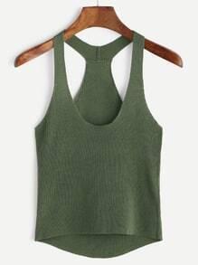 Green Knit Dip Hem Tank Top